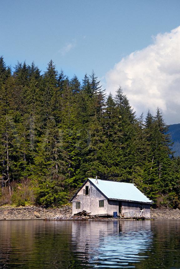 Weathered shack on edge of lake, Alaska