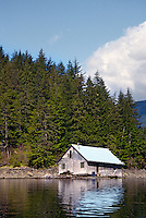 Weathered shack on edge of lake, Alaska