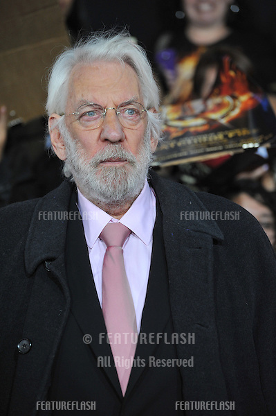 Donald Sutherland at the US premiere of his movie &quot;The Hunger Games: Catching Fire&quot; at the Nokia Theatre LA Live.<br /> November 18, 2013  Los Angeles, CA<br /> Picture: Paul Smith / Featureflash