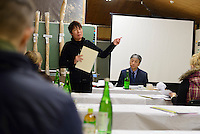Tour leader Etsuko Nakamura gives a talk about sake next to Shiragiku Shuzo president Shyzo Watanabe. Shiragiku Shuzo, Takahashi city, Okayama Pref, Japan, January 27, 2014. Okayama is famous for its earthy full-bodied sake. In January and February 2014 a 5-day tour of breweries in the prefecture was organised by Sake Brewery Tours (www.saketours.com).  Okayama is famous for its earthy full-bodied sake. In January and February 2014 a 5-day tour of breweries in the prefecture was organised by Sake Brewery Tours (www.saketours.com).