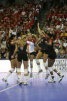 16 December 2006: Stanford Cardinal Cynthia Barboza, Bryn Kehoe, Foluke Akinradewo, Kristin Richards, and Jessica Fishburn during Stanford's 30-27, 26-30, 28-30, 27-30 loss against the Nebraska Huskers in the 2006 NCAA Division I Women's Volleyball Final Four Championship match at the Qwest Center in Omaha, NE.