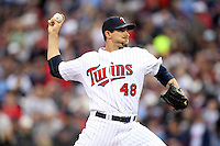 April 2, 2010: Carl Pavano of the Minnesota Twins in the first professional baseball game played at the Twins new home, Target Field. Photo by: Chris Proctor/Four Seam Images