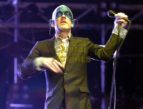 R.E.M.MIKE STIPE.At the Heineken Jammin' Festival 2005,.Imola, Bologna, Italy,.June 10th 2005..half length make-up funny michael REM live gig on stage music concert.Ref: OME.www.capitalpictures.com.sales@capitalpictures.com.©Garofalo/Omega/Capital Pictures.