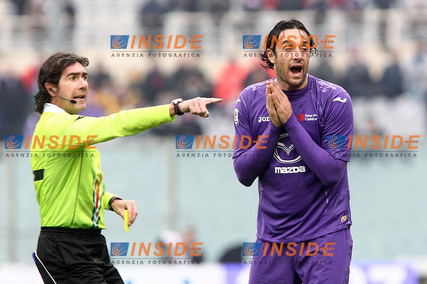 """Luca Toni Fiorentina arbitro Mauro Bergonzi .Firenze 20/01/2013 Stadio """"Franchi"""".Football Calcio Serie A 2012/13.Fiorentina v Napoli.Foto Insidefoto Paolo Nucci."""