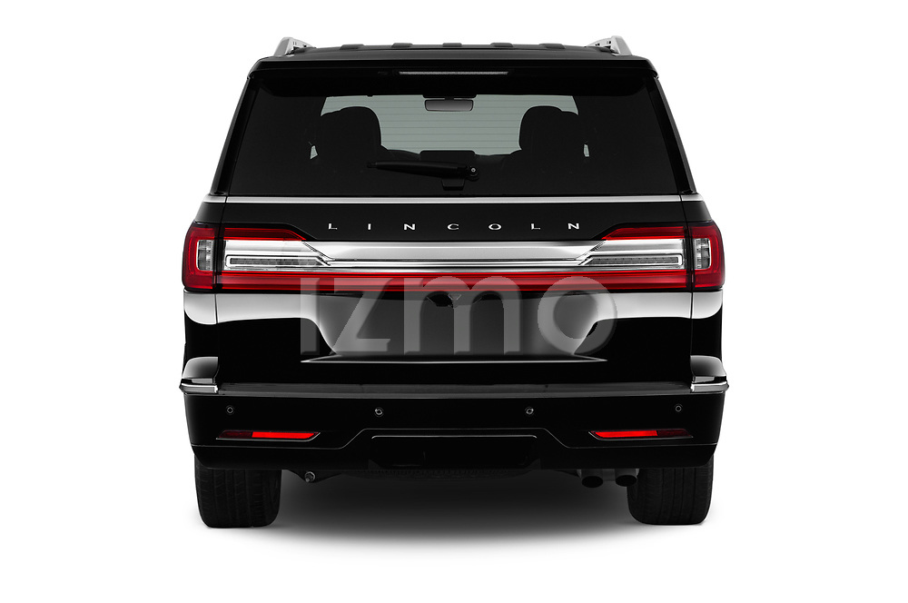 Straight rear view of a 2018 Lincoln Navigator Select L Extended 4x2 5 Door SUV stock images
