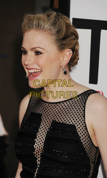 "Anna Paquin.HBO's ""True Blood"" Season 5 Premiere, Hollywood, California, USA..May 30th, 2012.headshot portrait black sheer polka dot earrings mouth open .CAP/ROT/TM.©Tony Michaels/Roth Stock/Capital Pictures"
