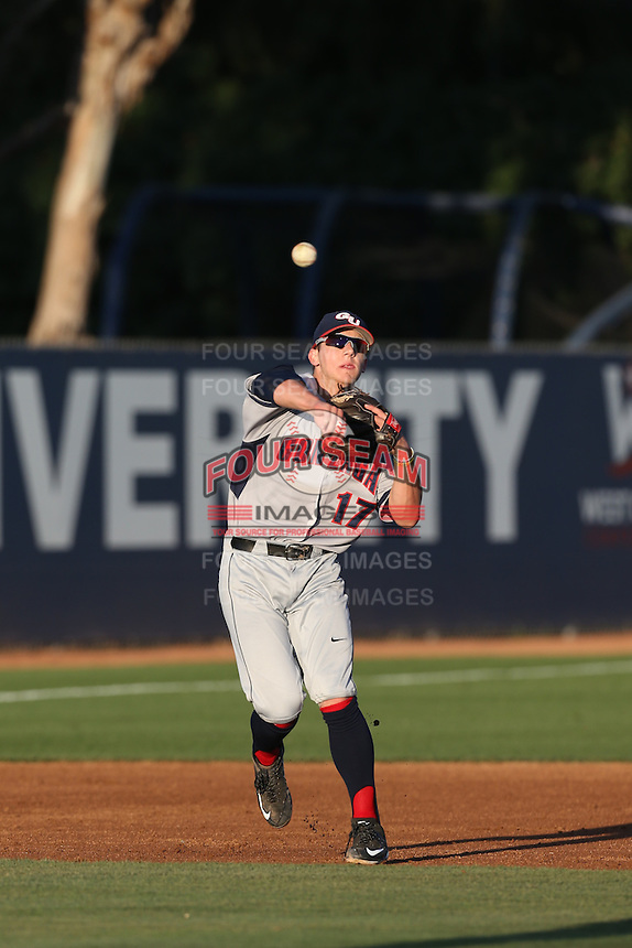 Jeffrey Bohling (17) of the Gonzaga Bulldogs makes a throw during a game against the Loyola Marymount Lions at Page Stadium on March 27, 2015 in Los Angeles, California. Loyola Marymount defeated Gonzaga 6-5.(Larry Goren/Four Seam Images)
