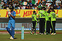Ireland's cricketers celebrate during a T20 match between Ireland and India at the Malahide cricket club in Dublin on June 27, 2018. Photo/Paul McErlane
