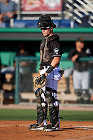 Batavia Muckdogs catcher Keegan Fish (7) during a NY-Penn League game against the West Virginia Black Bears on June 27, 2019 at Dwyer Stadium in Batavia, New York.  West Virginia defeated Batavia 6-5 in ten innings.  (Mike Janes/Four Seam Images)