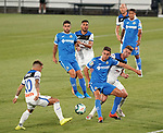 Getafe CF's Jaime Mata (c) and Atalanta BC's Alejandro Gomez (l) and Robin Gosens (r) during friendly match. August 10,2019. (ALTERPHOTOS/Acero)