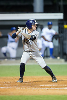 Robbie Tenerowicz (1) of the Princeton Rays at bat against the Burlington Royals at Burlington Athletic Stadium on August 12, 2016 in Burlington, North Carolina.  The Royals defeated the Rays 9-5.  (Brian Westerholt/Four Seam Images)