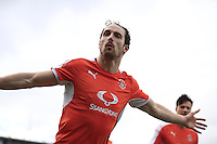 Danny Hylton of Luton Town celebrates his opening goal during the Sky Bet League 2 match between Yeovil Town and Luton Town at Huish Park, Yeovil, England on 4 March 2017. Photo by Liam Smith / PRiME Media Images.