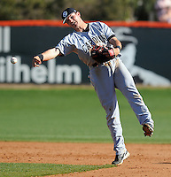 Clemson outfielder Wilson Boyd (12) is tagged out at second by University of South Carolina shortstop Reese Havens (6) in a game between the Clemson Tigers and USC Gamecocks on March 2, 2008, at Doug Kingsmore Stadium in Clemson, S.C. Photo by: Tom Priddy/Four Seam Images