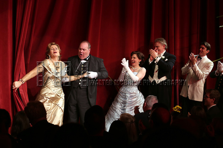 Renee Flemming, Blake Hammond, Anna Chlumsky, Douglas Sills and Scott Robertson during the Broadway Opening Night Performance Curtain Call for 'Living on Love' at The Longacre Theatre on April 20, 2015 in New York City.