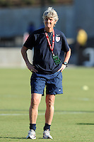 U.S. Women's National Team coach Pia Sundhage watches her team during warm-ups. The U.S. Women's National Team defeated the People's Republic of China, 2-1, Saturday, October 2, 2010, at the Atlanta Beat-KSU Soccer Stadium in Kennesaw, Georgia.