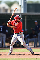 Los Angeles Angels of Anaheim catcher Eason Spivey (18) during an Instructional League game against the Milwaukee Brewers on October 9, 2014 at Tempe Diablo Stadium Complex in Tempe, Arizona.  (Mike Janes/Four Seam Images)
