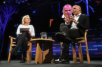 Hay on Wye, UK. Monday 30 May 2016<br /> (L-R) Martha Kearney and Former Greek Finance Minister Yanis Varoufakis at the Hay Festival, Hay on Wye, Wales, UK