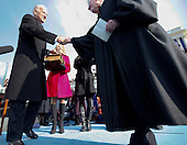 Washington, DC - January 20, 2009 -- United States Vice President Joseph Biden, left, shakes hands with Supreme Court Associate Justice John Paul Stevens, following his swearing in ceremony at the U.S. Capitol in Washington, D.C., Tuesday, January 20, 2009..Credit: Chuck Kennedy - Pool via CNP