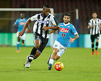 Molla Wague  and  Lorenzo Insigne  during the  italian serie a soccer match,between SSC Napoli and Udinese      at  the San  Paolo   stadium in Naples  Italy , November 08, 2015