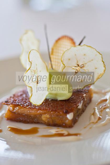 Europe/France/Pays de la Loire/44/Loire Atlantique/Nantes:   Pomme: Reine des Reinettes, façon tatin, sorbet granny smith et pommes gaufrettes -  Recette de Jean-Yves Guého   du restaurant: L'Atlantide