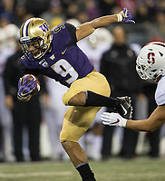 Myles Gaskin barely gets tripped up on his way to the end zone.