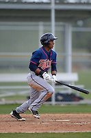 Minnesota Twins infielder Jorge Polanco (17) during a minor league spring training game against the Baltimore Orioles on March 20, 2014 at the Buck O'Neil Complex in Sarasota, Florida.  (Mike Janes/Four Seam Images)