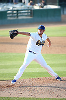 Caleb Ferguson (22) of the Rancho Cucamonga Quakes pitches against the Stockton Ports at Loan Mart Field on July 16, 2017 in Rancho Cucamonga, California. Rancho Cucamonga defeated Stockton 9-1. (Larry Goren/Four Seam Images)