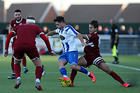 Jason Raad of Aveley and Danny Imray of Chelmsford City during Aveley vs Chelmsford City, Buildbase FA Trophy Football at Parkside on 8th February 2020