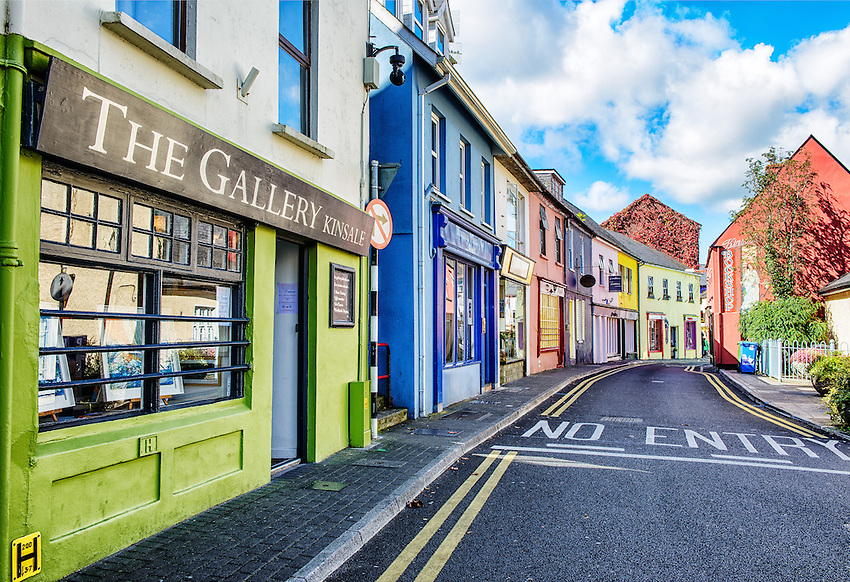 A section of Main Street, in the shopping district of Kinsale, a popular tourist destination in County Cork, Ireland