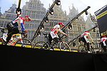 Corendon-Circus on stage at the team presentation in Antwerp before the start of the 2019 Ronde Van Vlaanderen 270km from Antwerp to Oudenaarde, Belgium. 7th April 2019.<br /> Picture: Eoin Clarke | Cyclefile<br /> <br /> All photos usage must carry mandatory copyright credit (&copy; Cyclefile | Eoin Clarke)