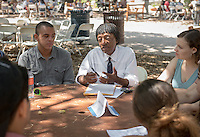 Arthur Saint-Aubin, Professor, Spanish and French Studies. Incoming first years meet with their faculty advisors during the Major Information Sessions & Advising part of Orientation in the Academic Quad, Aug. 24, 2015.<br /> (Photo by Marc Campos, Occidental College Photographer)