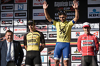 Race winner Fernando Gaviria (COL/Quick Step Floors) flanked on the podium by Dylan Groenewegen (NED/Team Lotto NL - Jumbo) and Jasper De Buyst (BEL/Lotto Soudal)<br /> <br /> 102nd Kampioenschap van Vlaanderen 2017 (UCI 1.1)<br /> Koolskamp - Koolskamp (192km