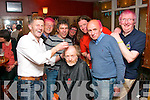 After a day in which the Kerry mountain rescue group had to deal with a climber who was fatally injured, thier charity night went ahead in Corkery's bar, Killarney on Saturday night, pictured were, Barber Pat O'Neill shaving Gerry Christie, also present were, Christy McCarthy, Cathal Cudden, Pierce Kelly, Mike and Miriam Long with Brendan Coffey.