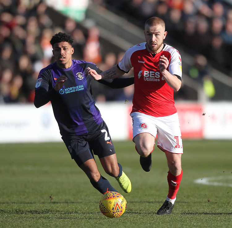 Fleetwood Town's Paddy Madden  in action with Luton Town's James Justin <br /> <br /> Photographer Mick Walker/CameraSport<br /> <br /> The EFL Sky Bet League One - Fleetwood Town v Luton Town - Saturday 16th February 2019 - Highbury Stadium - Fleetwood<br /> <br /> World Copyright © 2019 CameraSport. All rights reserved. 43 Linden Ave. Countesthorpe. Leicester. England. LE8 5PG - Tel: +44 (0) 116 277 4147 - admin@camerasport.com - www.camerasport.com