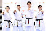 (L-R) <br /> Kiyo Shimizu, <br /> Ryo Kiyuna, <br /> Ryutaro Araga, <br /> Ayumi Uekusa, <br /> AUGUST 4, 2016 - Karate : <br /> Japan Karatedo Federation holds a press conference after it was decided that <br /> the sport of karate would be added to the Tokyo 2020 Summer Olympic Games on August 3rd, 2016 <br /> in Tokyo, Japan. <br /> (Photo by AFLO SPORT)