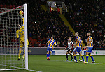 Mark Halstead of Shrewsbury saves a Billy Sharp of Sheffield Utd header during the English League One match at the Bramall Lane Stadium, Sheffield. Picture date: November 19th, 2016. Pic Simon Bellis/Sportimage