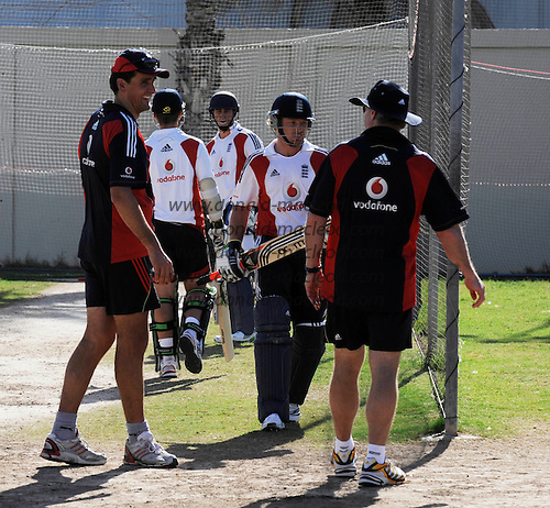 "Warwickshire and England batsman Ian Bell (centre) in net practice during England ""A"" cricket team training at Sharjah Cricket Stadium, UAE, in advance of this weeks matches against the United Arab Emirates and Pakistan ""A"" - Picture by Donald MacLeod 08.02.10"