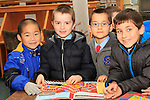 "Nathan Zhou, Oran Clarke, Szymom Josz and Mikalaj Molak from St.Patrick's NS at the ""Drogheda Counts"" workshop in the Library...Photo NEWSFILE/Jenny Matthews..(Photo credit should read Jenny Matthews/NEWSFILE)"