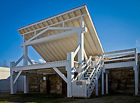The reconstructed Gallows at Fort Smith National Historic Site, where 86 men were executed from 1873 through 1896.