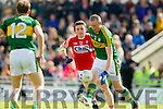 Kieran Donaghy Kerry in action against Mark Collins Cork in the National Football league in Austin Stack Park, Tralee on Sunday.