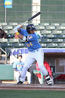 Myrtle Beach Pelicans catcher Jorge Alfaro #24 at bat during a game against the Potomac Nationals at Ticketreturn.com Field at Pelicans Ballpark on April 16, 2014 in Myrtle Beach, South Carolina. Potomac defeated Myrtle Beach 7-3. (Robert Gurganus/Four Seam Images)