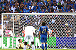09 July 2006: Goalkeeper Gianluigi Buffon (ITA) (left, on ground) watches helplessly as the 7th minute penalty kick by Zinedine Zidane (FRA) (not pictured) comes down off the crossbar and lands just over the line to give France a 1-0 lead. Italy tied France 1-1 in overtime at the Olympiastadion in Berlin, Germany in match 64, the championship game, of the 2006 FIFA World Cup Finals. Italy won the World Cup by defeating France 5-3 on penalty kicks.