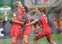 Portland, OR - Saturday October 07, 2017: Hayley Raso, Dagný Brynjarsdóttir, Tobin Heath celebrate a goal during a National Women's Soccer League (NWSL) semifinals match between the Portland Thorns FC and the Orlando Pride at Providence Park.