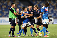 Mario Rui of SSC Napoli complaints against Ciro Immobile of Lazioduring the Serie A football match between SSC  Napoli and SS Lazio at stadio San Paolo in Naples ( Italy ), August 01st, 2020. Play resumes behind closed doors following the outbreak of the coronavirus disease. <br /> Photo Cesare Purini / Insidefoto