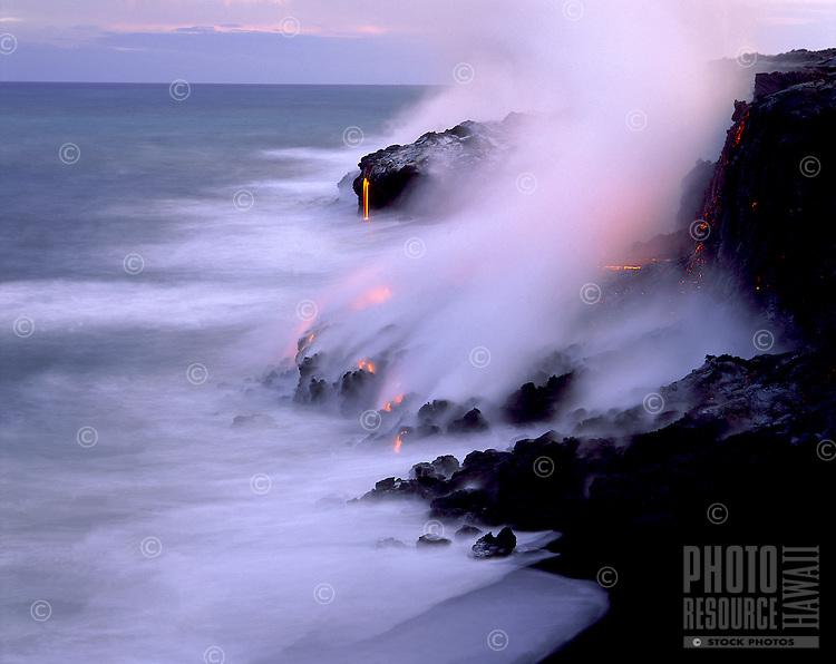 Kilauea lava as it flowing into the sea, Big Island of Hawaii