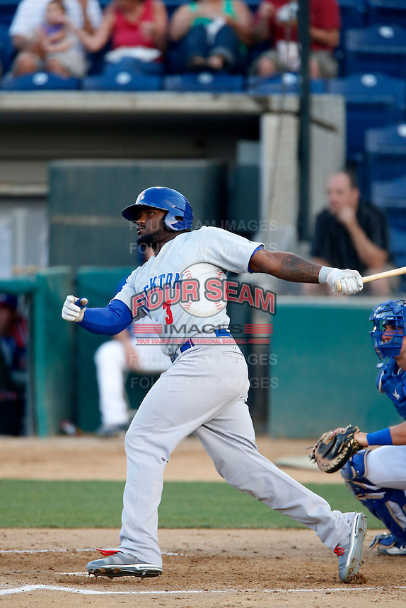 Rashun Dixon #3 of the Stockton Ports bats against the Rancho Cucamonga Quakes at LoanMart Field on June 13, 2013 in Rancho Cucamonga, California. Stockton defeated Rancho Cucamonga, 8-4. (Larry Goren/Four Seam Images)