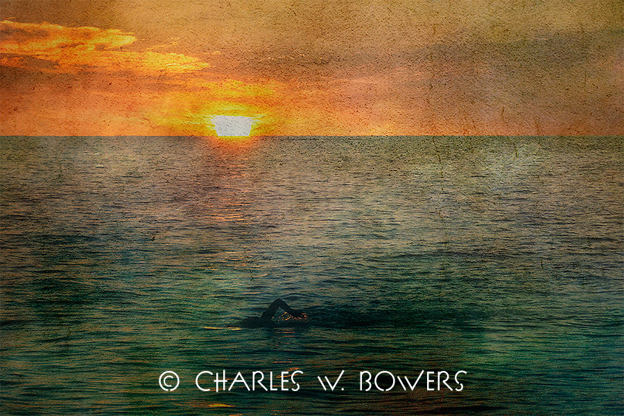 Lone swimmer swimming into the sunset<br />
