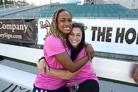 Cary, North Carolina  - Saturday September 09, 2017: Jessica McDonald and Sabrina D'Angelo prior to a regular season National Women's Soccer League (NWSL) match between the North Carolina Courage and the Houston Dash at Sahlen's Stadium at WakeMed Soccer Park. The Courage won the game 1-0.