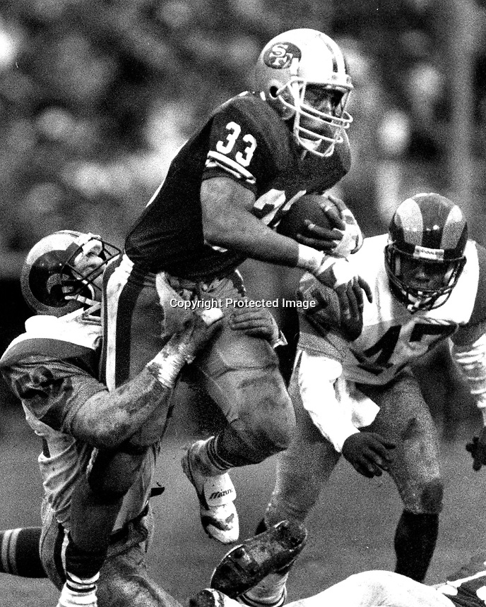 San Francisco 49ers Roger Craig against the Rams.<br />