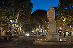 """A view down the Cours Mirabeau in Aix-en-Provence, Provence, France, during the """"blue hour"""" after sunset"""
